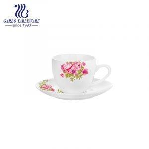 Nuevo conjunto de taza y platillo de porcelana de hueso con forma de cupé de 100 ml