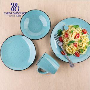 China factory cheap blue color glazed unique tableware fine stoneware dinner set 16pcs royal ceramic dinnerware sets