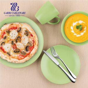 Wholesale matte finished green color dinnerware sets 16pcs ceramic tableware