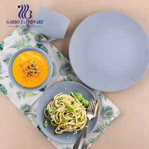 Wholesale tableware dinner set matte finish royal blue color 16pcs ceramic tableware set