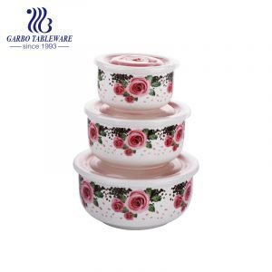 Elegant Style 3pcs ceramic bowl set with different sizes for food container use