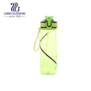 Good-quality green color portable plastic water drinking bottle for hiking