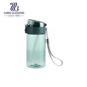 Оптовые 430 мл зеленые удобные пластиковые бутылки для воды без бисфенола А