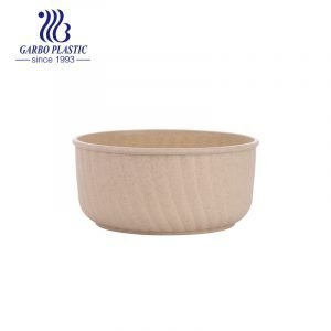 Wheat straw natural skin-colored unbreakable plastic bowl for salad dessert with cheap price from factory