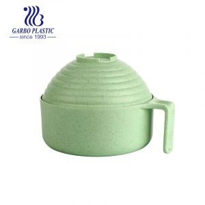 Grass green healthy plastic unbreakable acrylic mixing bowl with handle and round shape lid