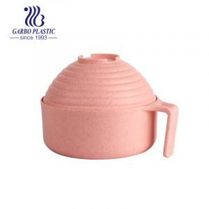 Light factory made wheat straw material plastic bowl for noddles salad with big round lid and easy holding handle