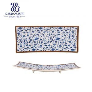 Japanese Style Durable Plastic Sushi Serving Plates with Full Flower Printing, Suitable for Hotels, Restaurannt Dinnerware