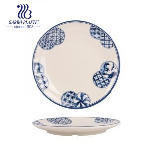 Pratos de sobremesa de plástico redondos de 7 polegadas inquebráveis e seguros para máquina de lavar louça adequados como talheres de serviço doméstico
