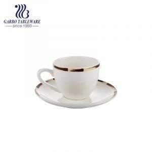 Nuevo sistema de bambú de la taza y del platillo de té del borde del diseño de la porcelana de hueso
