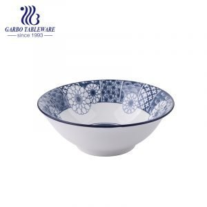 370ml cheap ceramic bowl with inside underglazed decal for noodles eating