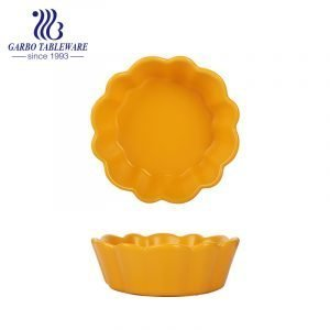 Microwave safe 355ml yellow color-glazed ceramic bowl for wholesale