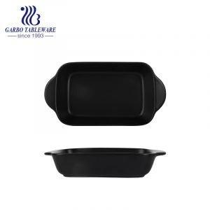 440ml black color porcelain baking pan with handle