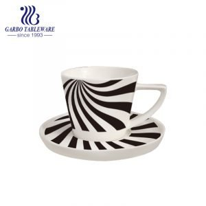 customized black line design new bone china cup and saucer set