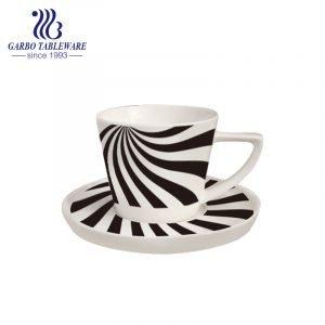 diseño de línea negra personalizado nuevo juego de taza y platillo de porcelana china