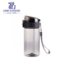 430ml smoky gray food-safe portable plastic water bottle with silicone straw