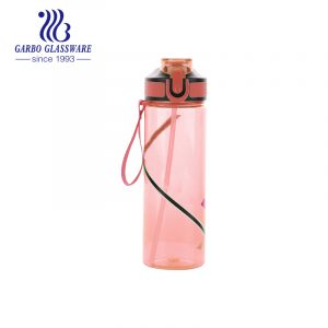600ml Garbo sports pink BPA free plastic water drinking bottle with straw
