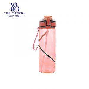 Розовая спортивная розовая пластиковая бутылка для воды без бисфенола А, 600 мл, с трубочкой
