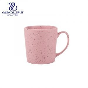 Wheat straw design pink color glaze ceramic porcelain mug 500ml magnesia porcelain drink ware water cup with big handle