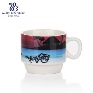Ceramic vacation coffee mug for beach holiday enjoyable porcelain printed espresso mugs latte drinking cup with small handle