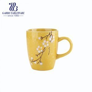 Flower printed design with color glaze yellow ceramic water mug 240ml stoneware cappuccino mugs Mocca Cafe cup for office.