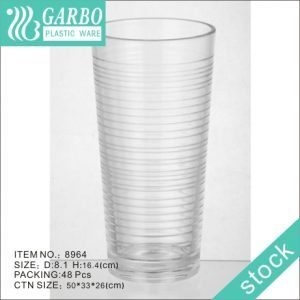 Freezer 16oz highball plastic clear polycarbonate drinking tumbler with circle design