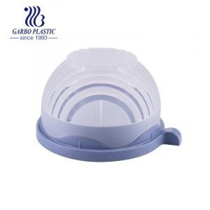 Heathy purple plastic wheat straw material plastic bowl with a small handle and a silicone lid for daily use