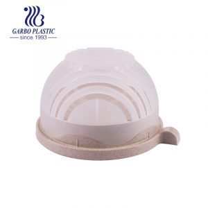 Eco-friendly wheat straw light brown plastic bowl with silicone lid and short handle