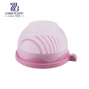 Sweet pink light wheat straw material plastic heat-resistant fruit salad bowl with lid
