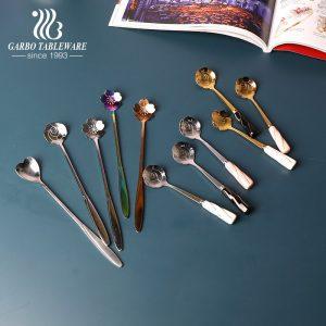 Golden plating stainless steel ice cream yogurt spoon in flower shape with ceramic handle