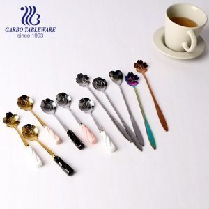 Middle East style 410 stainless steel tea spoon with ceramic handle and flower shape