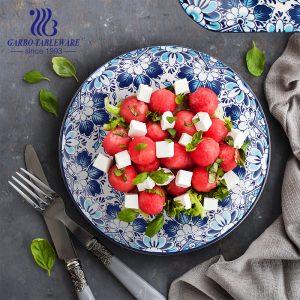 Wholesale hotel wedding banquet serving food grade plain fine porcelain 12inch ceramic charger plate