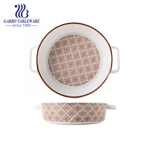 8 inch porcelain bakeware with ear and printing decoration