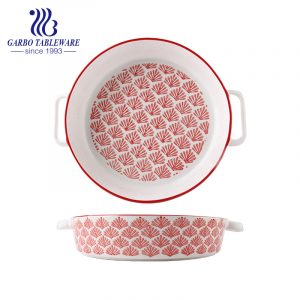 10 inch round printing porcelain baking tray with ear