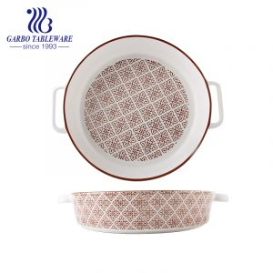 10 inch porcelain baking plate with ear and printing decoration