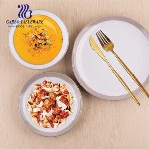الجملة الرخيصة أدوات المائدة الفاخرة اللون الفرقة 18pcs مجموعة عشاء السيراميك