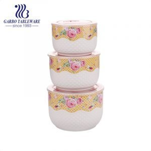 3pcs set of ceramic food container bowls with customized decal