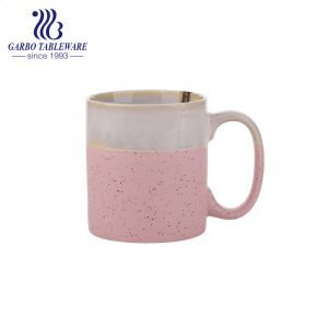 Porcelain color glazed wheat straw deisgn water mug with big C shape handle ceramic drinking mugs high end quality for hotel