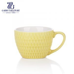 Engraved color glazed ceramic big mouth mug for breakfast oatmeal drinking mugs 2pcs yellow mug set  for couple design porcelain cup daily use good quality cups