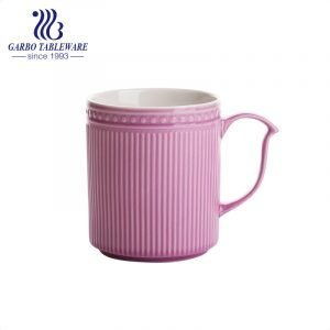 Engraved pink color porcelain water drinking mug ceramic cups with special handle for promotion gift