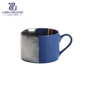 Europe design spray color glaze ceramic coffee mug with available saucer tray drinking set magnesiaporcelain cups with classic handle