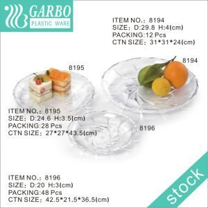 Strong Plastic Food Safe Party Elegant Flower Clear Acrylic Charger Plate with Modern Pattern with 3 different sizes