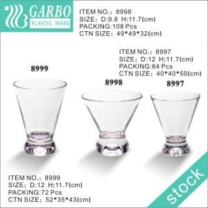 Wholesale heavy base 10oz short cocktail glass polycarbonate