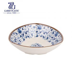 7 inch Chinese traditional pattern style triangle shape cheap plastic fruit dessert bowl with customized design