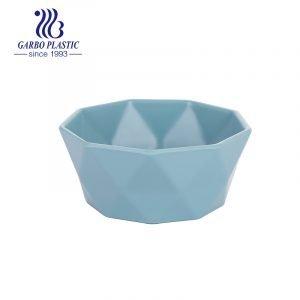 Azul bebê diamante desenho palha de trigo tigela de salada de frutas de plástico leve com borda lisa da fábrica chinesa