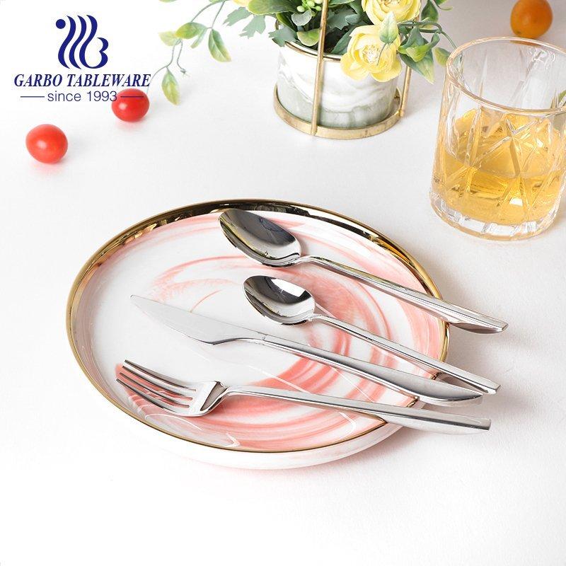 أسلوب بسيط 304 (18/8) ملاعق حساء عشاء أنيقة من الفولاذ المقاوم للصدأ الفضي لأدوات المائدة في المطاعم بالجملة