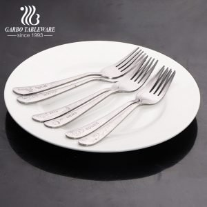 simple 410 stainless steel dinner forks with laser animal design logos