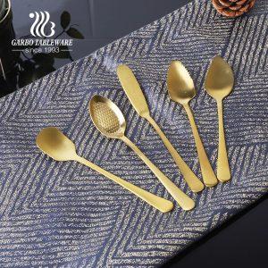 304 (18/8) ملاعق آيس كريم صغيرة الحجم من الفولاذ المقاوم للصدأ ذات طلاء ذهبي عالي الجودة