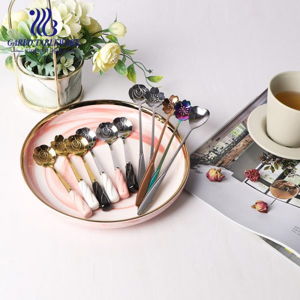 Ceramic handle with Color plating stainless steel tea stirring spoon cutlery flatware
