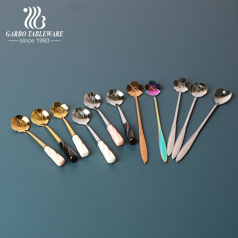 Short and long style stainless steel tea spoon ice cream spoons for hotel or home use