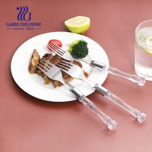 Wholesale cheap 410 13/0 SS dinner table forks with PS plastic handle